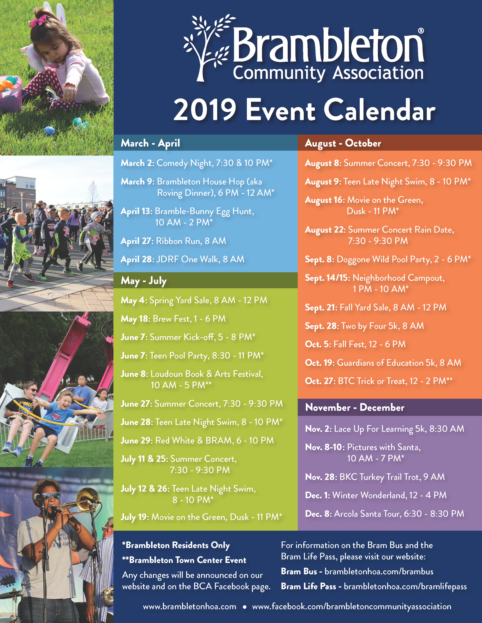 2018 BCA Calendar of Events
