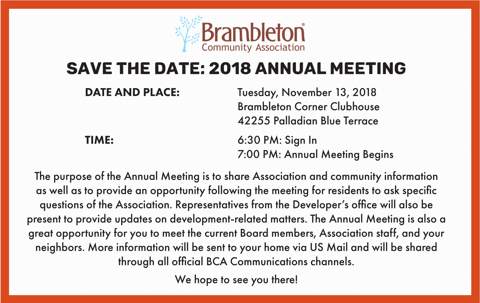 2018 Annual Meeting Announcement